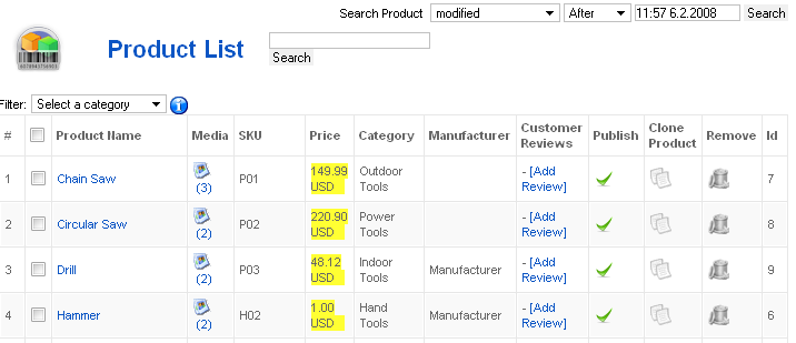 462 products virtuemart administration product list pronofoot35fo Image collections