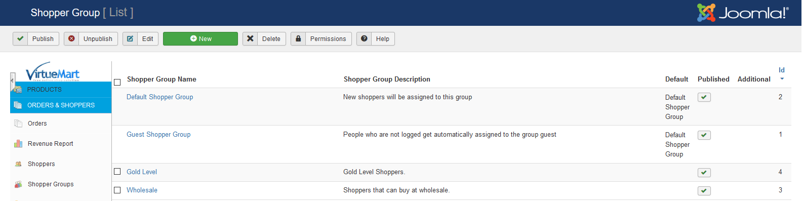 shoppergroups shoppergroup list screen