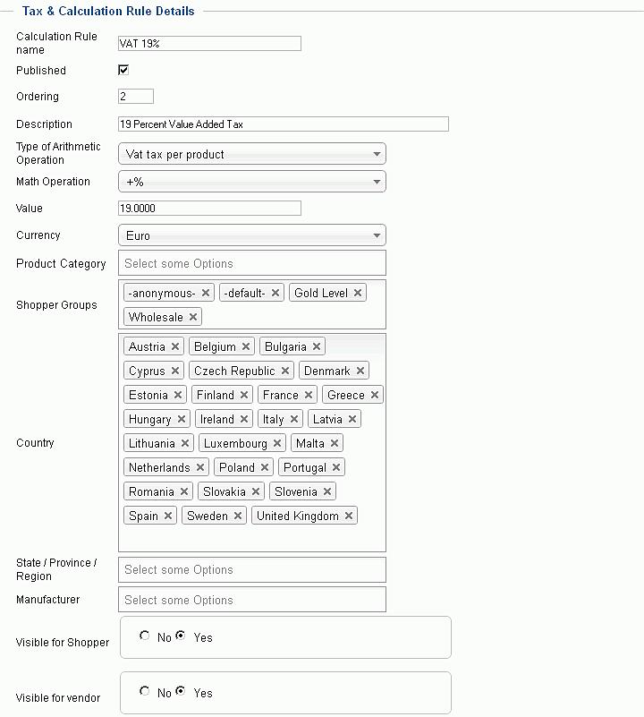 virtuemart налоги и правила расчета