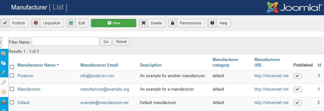 manufacturer manufacturer list screen