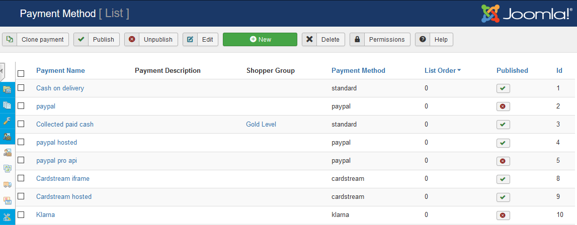 payment payment method list screen